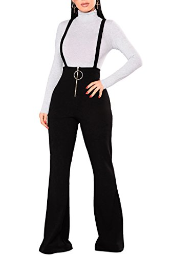 Remelon Womens Sleeveless High Waisted Zipper Front Bell Pants Suspender Jumpsuits Overalls Black XL - Black Outfit