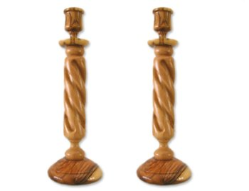 Candle Holder Sticks Made From Olive Wood From The Holy Land by Holy Land Market