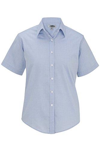 Edwards Ladies' Pinpoint Oxford Shirt - Short Sleeve Blue L ()