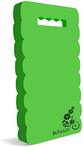 InSassy Garden Kneeler Pad - Kneeling Mat for Gardening Baby Bath Yoga Exercise & Prayer - High Density Foam Knee Pad for Work, Green (Large - 18 x 8 1/4 x 4/5 Inches)