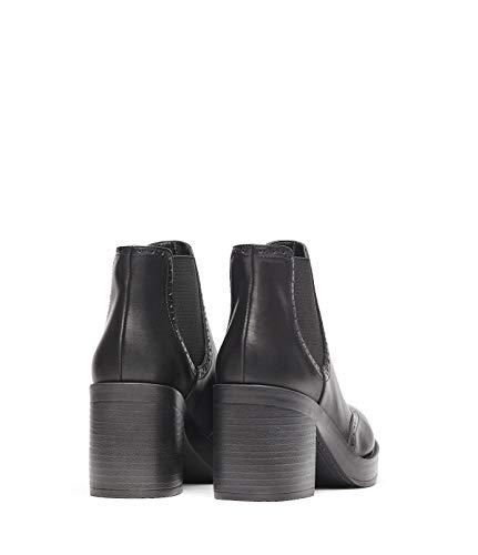 Pour Millie Bottines Bloc Souple Hauts Femmes Poilei Cuir À Chaussures Noir Talons 5qa0HFw