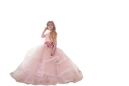 Banfvting Pale Pink Princess Graduation Gown Little Girls Spaghetti First Communication Dress Kids Adorable (12) by Banfvting (Image #3)
