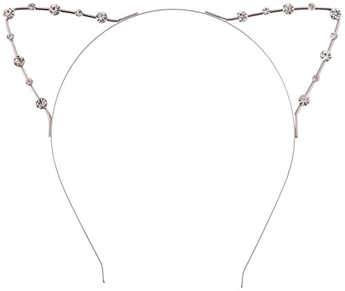 (ReNext Crystal Pearl Shot In Cat Ears Child/Adult Hair Bands, Silver)