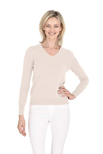 - Cashmeren Women's Wool Cashmere Classic Knit Soft Long Sleeve V Neck Pullover Sweater (Cream, Medium)