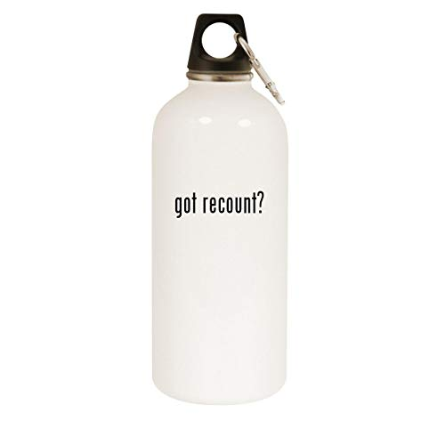 got recount? - 20oz Stainless Steel White Water Bottle with Carabiner, White
