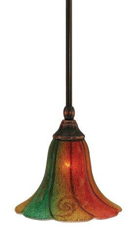 (Toltec Lighting 23-BC-760 Stem Mini-Pendant Light Black Copper Finish with Mardi Gras Glass, 8-Inch)