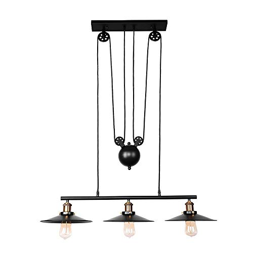 OYIPRO Pulley Kitchen Island Light, 3 Lights Adjustable Linear Pendant Light Industrial Ceiling Hanging Light Lamp (Matte Black)