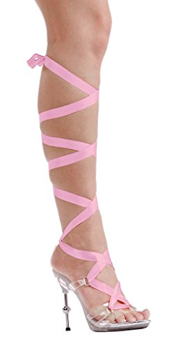 458 Ballerina (Ellie Shoes E-458-Ballerina 4 Metallic Heel With 7 Ribbons 9 /)