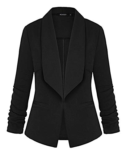 3/4 Ruched Sleeve Open Front Work Office Black Blazer Jacket with Pockets ()