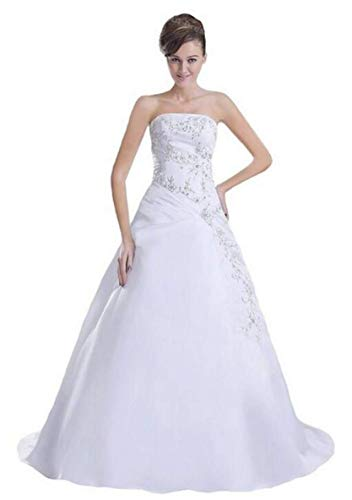 White Taffeta Wedding Gown - Lafkxn Women's Vintage A Line Embroidery Wedding Dress Bride Gown Size 18 White