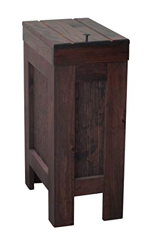 BuffaloWood Shop Wooden Wood Trash Bin Kitchen Garbage Can Rectangular 13 Gallon Solid Pine - Red Mahogony Stain - Rustic -Metal Knob Hand Made in USA
