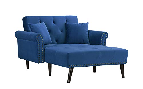 Casa Andrea Milano Modern Velvet Fabric Recliner Sleeper Chaise Lounge (Navy)