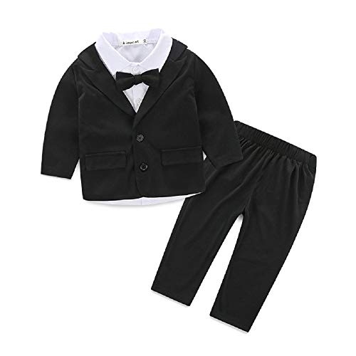 Baby Boys Gentleman Sets Blazer and Pant and Long Sleeve Shirt 3pcs Leisure Suit (Black, 80(7-12M))