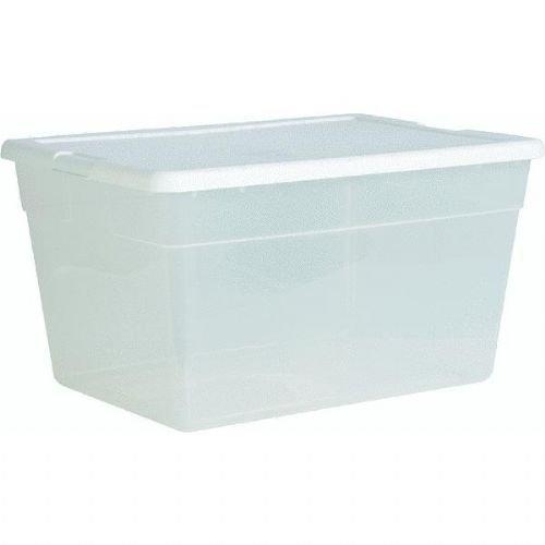 New Sterilite 16598008 Lidded 56 Quart Clear Bin Home Storag