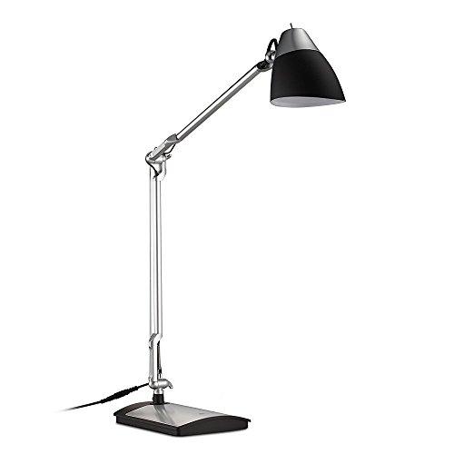 TaoTronics Schreibtischlampe LED Tischlampe Leselampe Augenschutz 6W, Abklappbar, Flexibler Arm, Drehbarer Lampenkopf, Augenfreundliche Gestaltung, Schwarz + Silber Lackierung