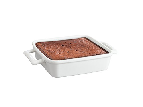 HIC Classic Brownie Baking Pan and Roasting Casserole Dish with Handles for Secure Grip, Fine White Porcelain, 8-Inch x 8-Inch x 2-Inch