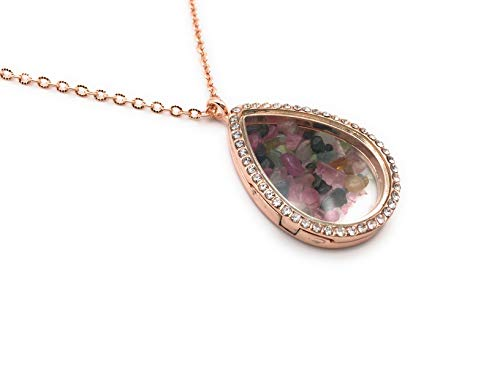 xinpeng Living Memory Floating Charm Round Heart Teardrop Square Oval Cross Locket Tourmaline Necklace Pendant Crystal Clear Glass Magnetic Closure (Rose Gold Teardrop)