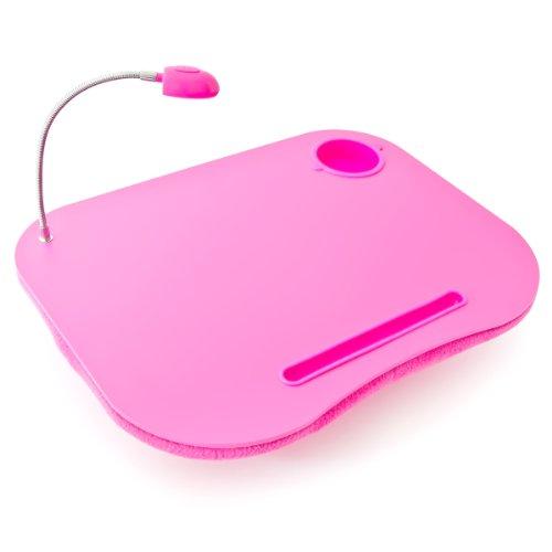 Relaxdays 10016334 Laptoptisch Knietablett mit LED-Licht und Getränkehalter, rosa