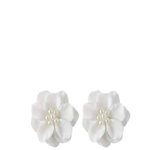 - IslandseLovely White Flower Pearl Pendant Circle Stud Earrings Fashion Design