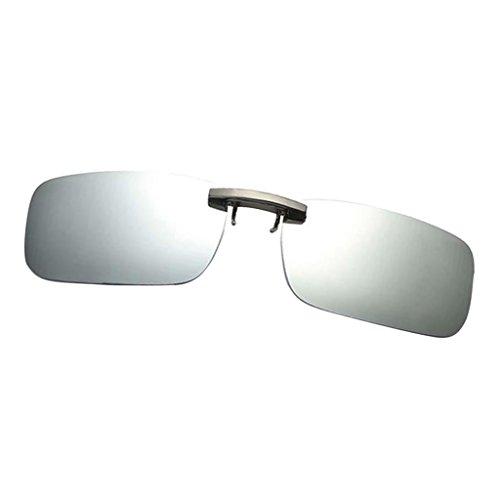 Miopía Conducción Clip de Magideal para Polarizado Gafa blanca Sol UV400 con plata Unisex q4BwZ0Ax