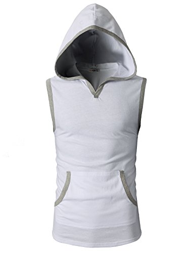 H2H Mens Fashion Slim Fit Sleeveless Lightweight Button Trim Tank Tops with Hoodie White US M/Asia L (CMTTK015) (Tank Trim White)