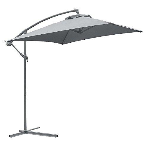 Astonica 50104393 Adjustable Charcoal Steel Ribbed Tan Cantilever Umbrella
