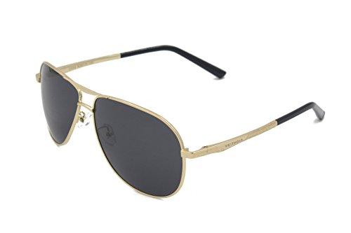 VEITHDIA 2556 Premium Metal Frame Polarized Aviator Sunglasses 100% UV Protection (Golden Frame/Grey Lens, - Polaroid Sunglasses Online