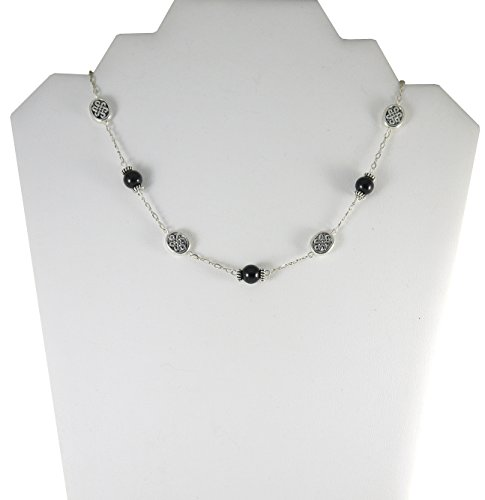 """Black Tourmaline Necklace with Celtic Knot Beads - 18"""""""