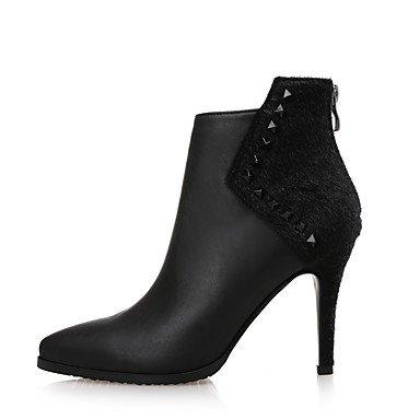 Heart&M Mujer Zapatos Cuero Piel PU microfibra sintético Invierno Botas de Moda Botas Dedo Puntiagudo Botines Hasta el Tobillo Cremallera burgundy
