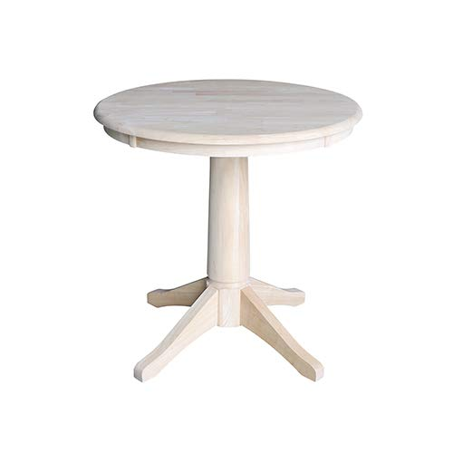 International Concepts K-30RT-27B 30'' Round Top Pedestal Table-28.9'' H, Unfinished by International Concepts