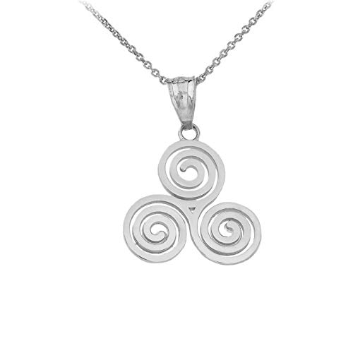 925 Sterling Silver Celtic Irish Triskele Triple Spiral Charm Pendant Necklace, 16