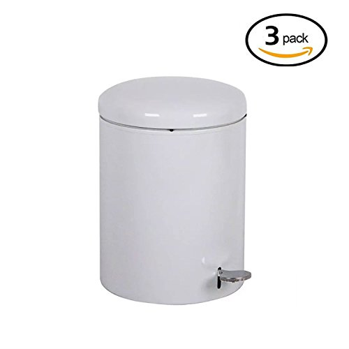 Witt 2240WH Stainless Steel Step On Metal Biohazard Waste Container, 4gal Capacity, 11-1/2 Diameter x 16'' Height, White (Set of 3) by Witt Industries (Image #2)