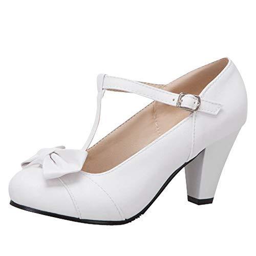(Charm Foot Women's Bows High Heel T Strap Pumps (8,)