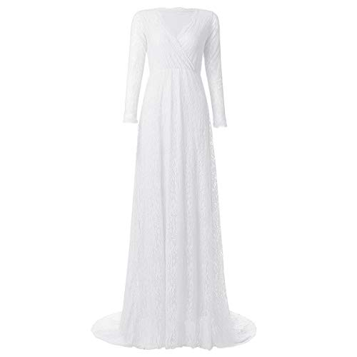 Maternity Fitted Gown Cross-Front V Neck Ruched Long Sleeve Vintage Lace Maxi Photography Dress Prom Evening Cocktail Party Z# White M