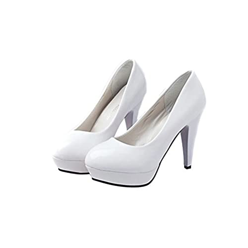 Junai Women s Candy Color Shoes Waterproof High Heels White 38 85 ... 7f4a807feece