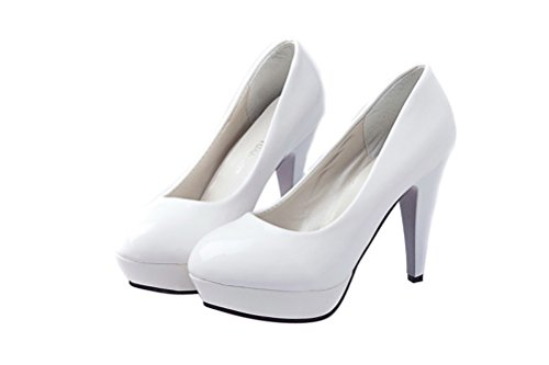 LOVEBEAUTY Women's Candy Color Shoes Waterproof High Heels (US 8.5, White)