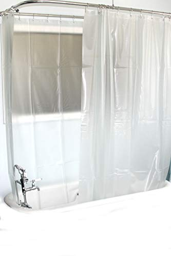 D&L Extra Wide Vinyl Shower Curtain for a Clawfoot Tub/Opaque with Magnets 180