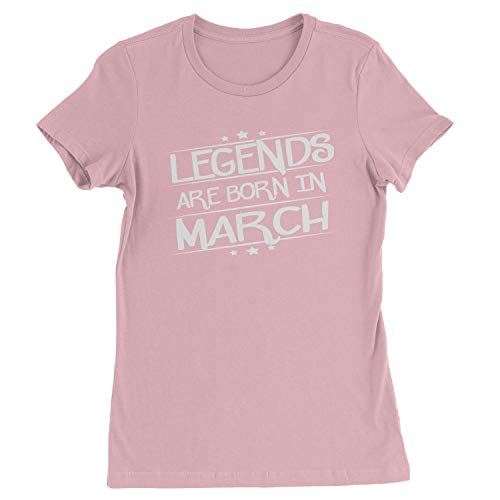 Legends Are Born Womens in March T-Shirt Medium Light Pink
