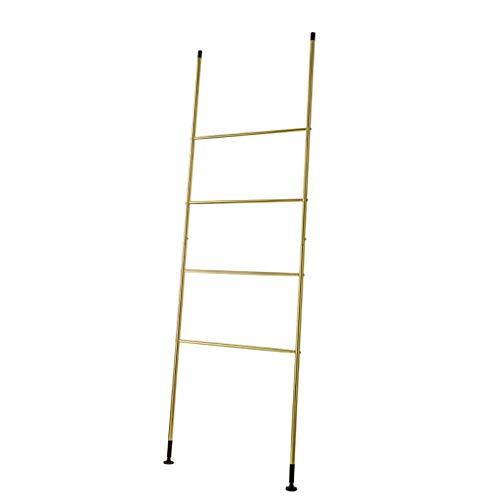 Freestanding Floor Ring - Free-Standing Towel Rail - Ladder Shaped Drying Rack,Bedroom Bathroom Towel Stand,Metal Coat Rack,Entrance Hanger,Gold