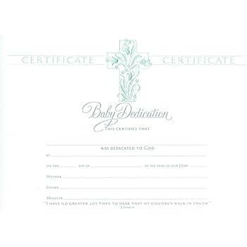 Baby Dedication Certificate   Premium, Pearl Foil Embossed   (Package Of 6)