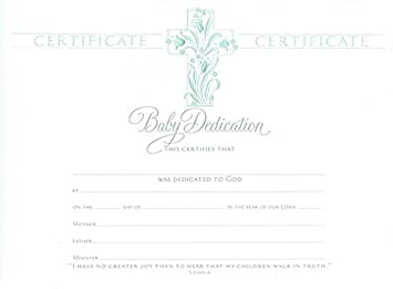 Baby Dedication Certificate   Premium, Pearl Foil Embossed   (Package Of 6)  Baby Dedication Certificates Templates