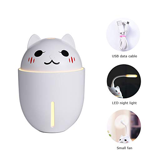 Teng Peng Mini Ultrasonic Cool Mist 320ml ,3 in 1 Small Fan lamp cans and Night Light Function Cute cat car Spray air Hydrating,Aromatherapy Machine air humidifier (Color : White)