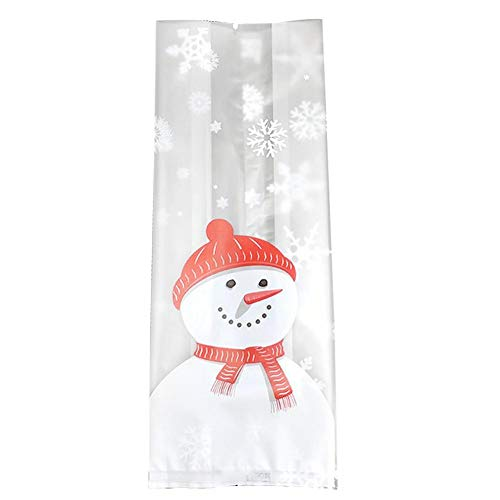 (RoseSummer 50Pcs Christmas Bag Santa Claus Snowman Cellophane Cookie Fudge Candy Gift Bag (E) )