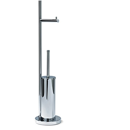DWBA Bath Collection DWBA Standing Chrome Toilet Paper Roll Holder & Toilet Brush Bowl Holder Set