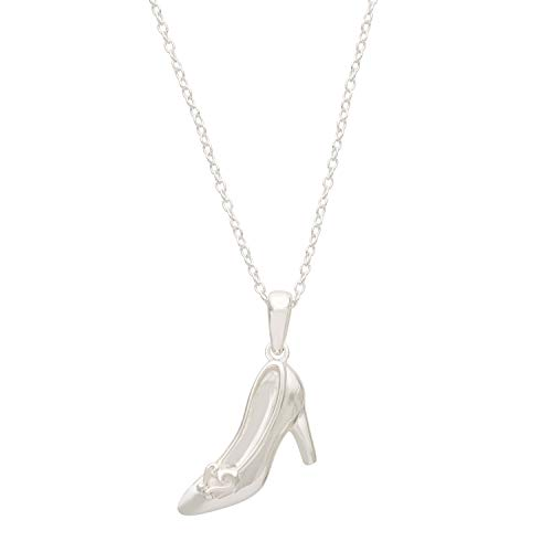 Disney Princess Cinderella Sterling Silver Slipper Pendant Necklace, 18 Inch Chain