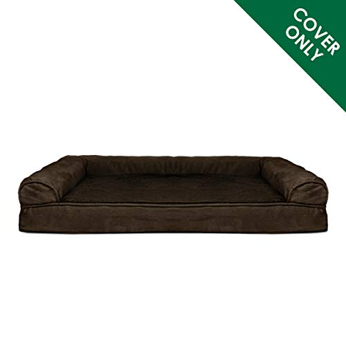 Furhaven Pet Dog Bed Cover | Ultra Plush Faux Fur & Suede Traditional Sofa-Style Living Room Couch Pet Bed Replacement Cover for Dogs & Cats, Espresso, Jumbo