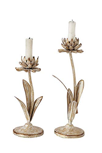Creative Co-op Cut Metal Flower Shaped Taper Distressed Gold Finish (Set of 2 Sizes) Candle - Taper Holders Candle Flower