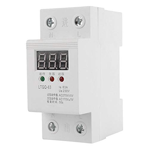 (Voltage Protector Relay 2P/63A 230V AC Automatic Reconnect Voltage Protector Under Voltage Relay Digital Voltage Relay)