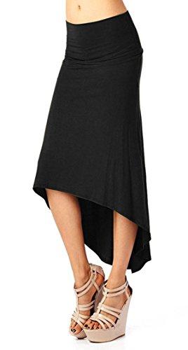 Aivtalk C Jupe Femme Mode Extensible Maxi au genou en Coton Robe taille haute assymetrique C Taille et Couleur au choix Noir