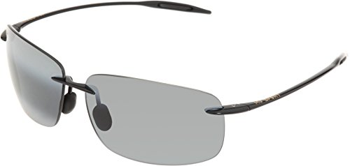 MAUI JIM BREAKWALL 422 422-02 Polarized Aviator Sunglasses, Gloss Black Frame/Polarized Neutral Grey, One Size by Maui Jim